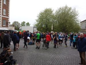 People milling around (& queueing for toilets) at the start