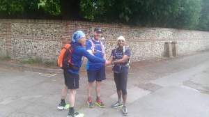 Ernie, Rich and Javed, setting off to attempt the 'double'.  500 miles in 200 hours....