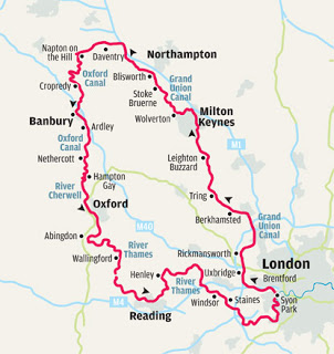 THe route.  We started in the 7 o'clock position (near Wallingford) and went anti-clockwise.